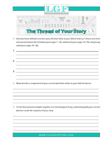Worksheet Thread Of Your Story By Lucyfoma Issuu