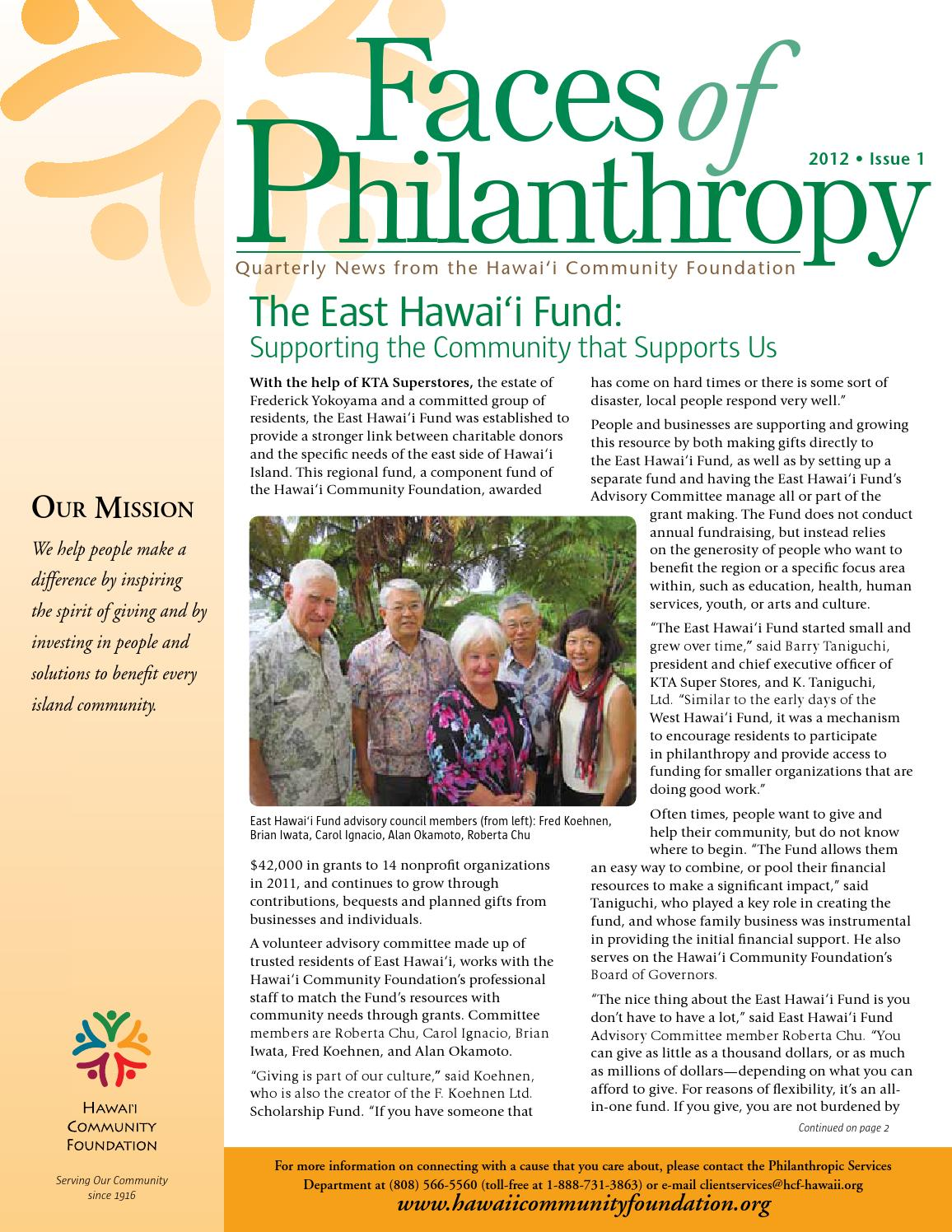 faces of philanthropy 2012 issue 1 by hawaii community foundation