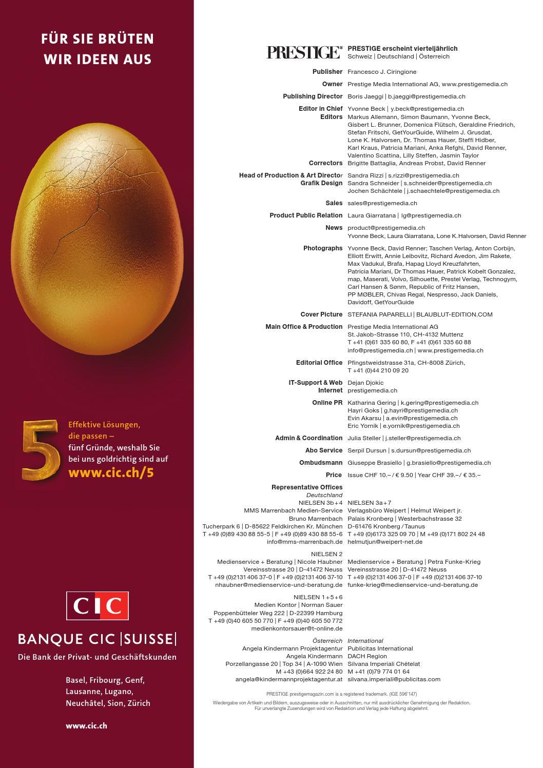 PRESTIGE Switzerland Volume 38 Auszug by rundschauMEDIEN AG