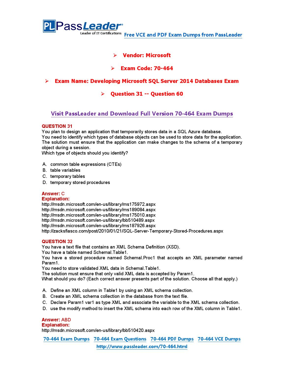 2016 New 70 464 Exam Dumps For Free Vce And Pdf 31 60 By Exam
