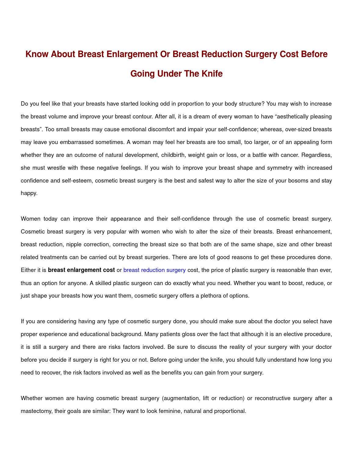 d81f387e01 Know about breast enlargement or breast reduction surgery cost before going  under the knife by Alia William - issuu