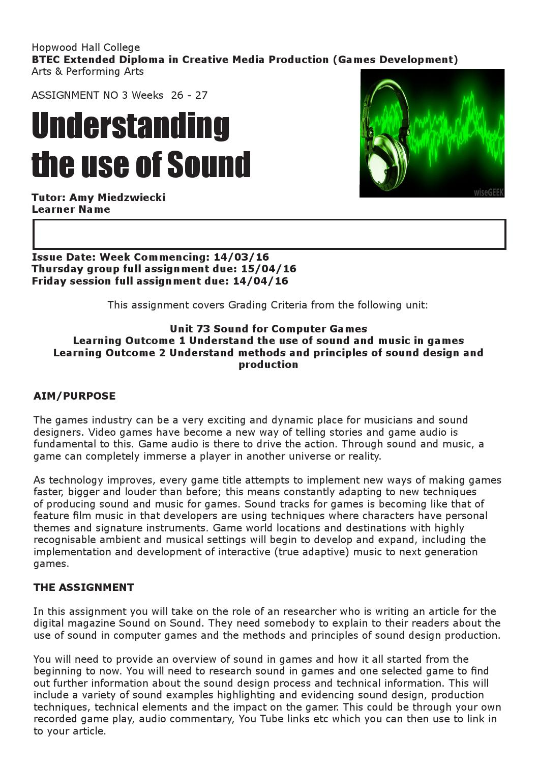 Unit 39 Computer Games Design And Development Assignment: Understanding The Use Of Sound By Amiedz