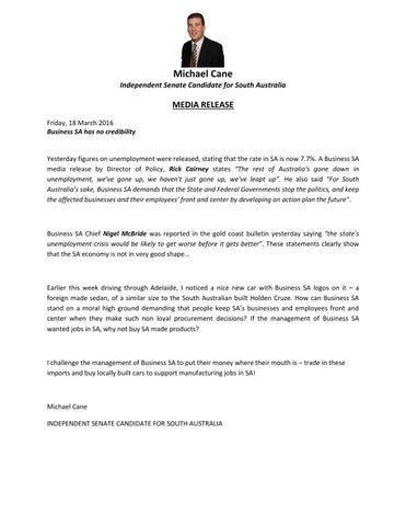 18 3 16 Media Release - Business SA lack of credibility by