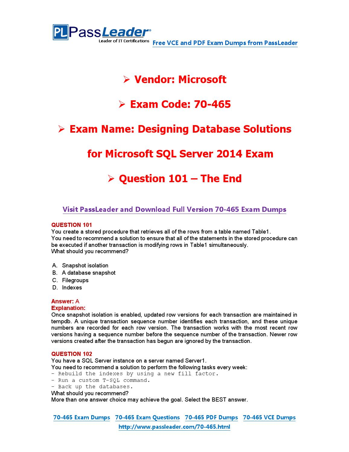 2016 New 70 465 Exam Dumps For Free Vce And Pdf 101 End By Exam