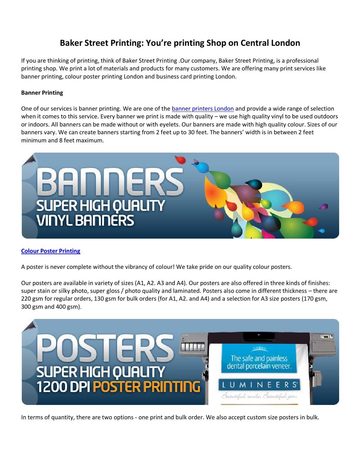 Banner printing london by Bakerstreetposterprinting - issuu
