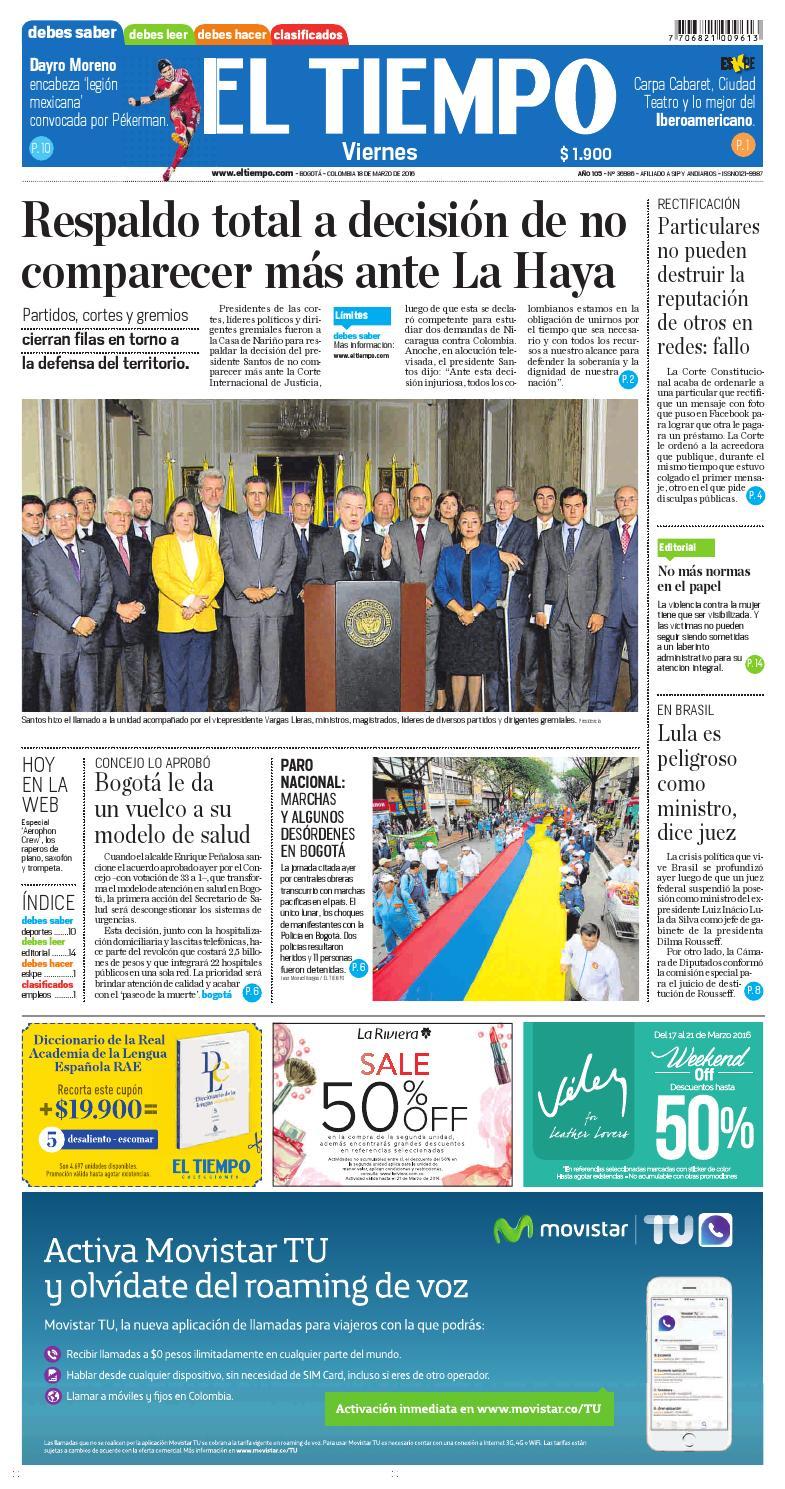 EL TIEMPO 18-MARZO-2016 by Andres A. - issuu