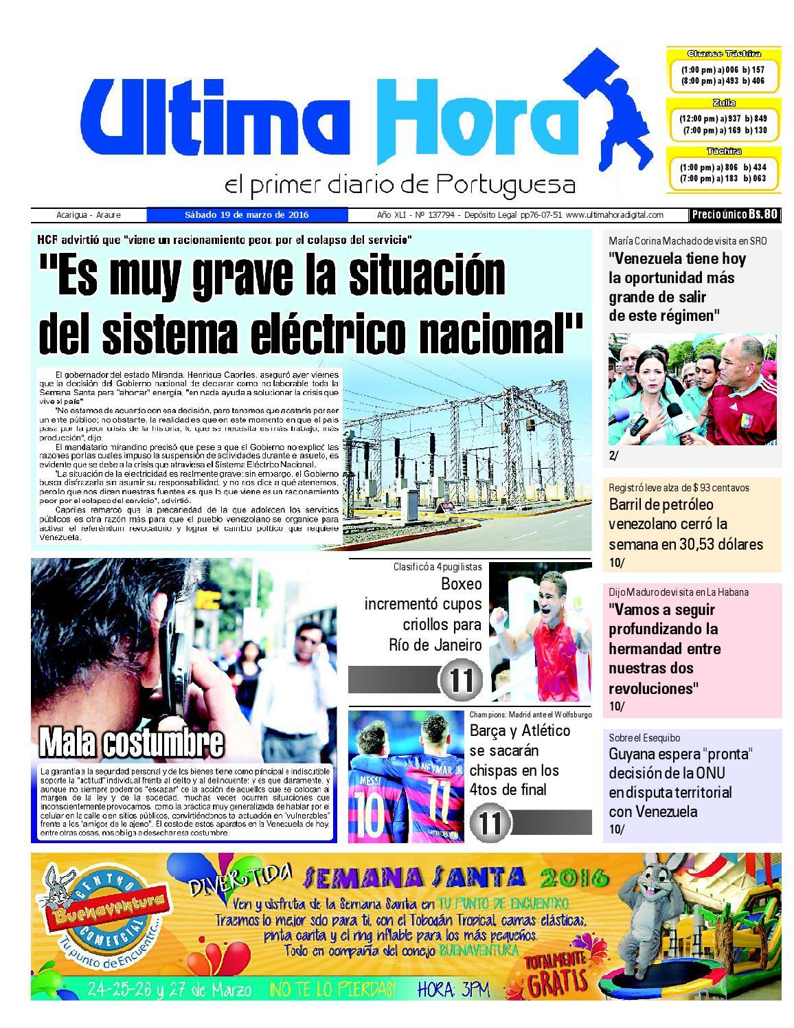 Edición 19 03 2016 by Ultima Hora - El primer diario de Portuguesa - issuu 1010dc0b71e0f