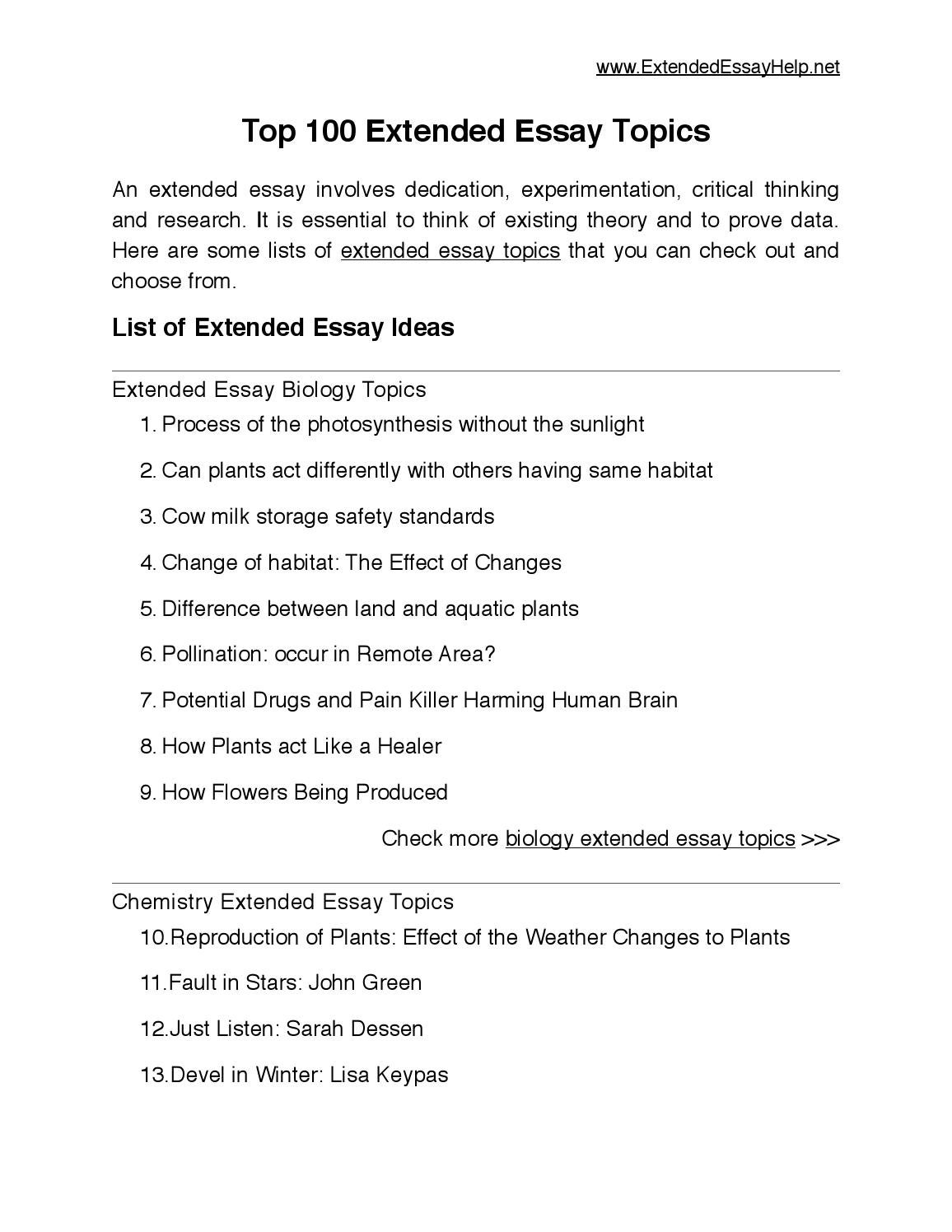 top  extended essay topics by extended essay   issuu