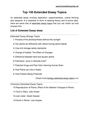 top extended essay topics by extended essay issuu  extendedessayhelp net top 100 extended essay
