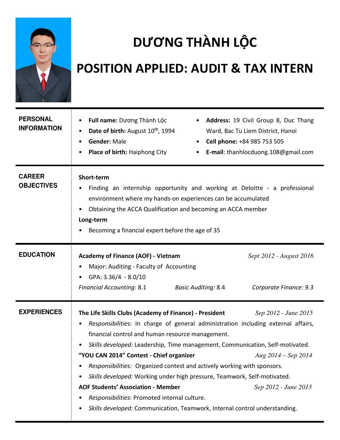 resume] dương thành lộc audit & tax intern deloitte by Linh