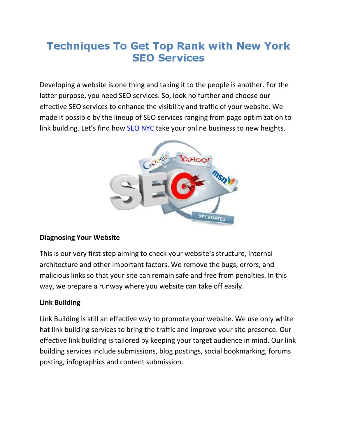 Techniques to get top rank with new york seo services by