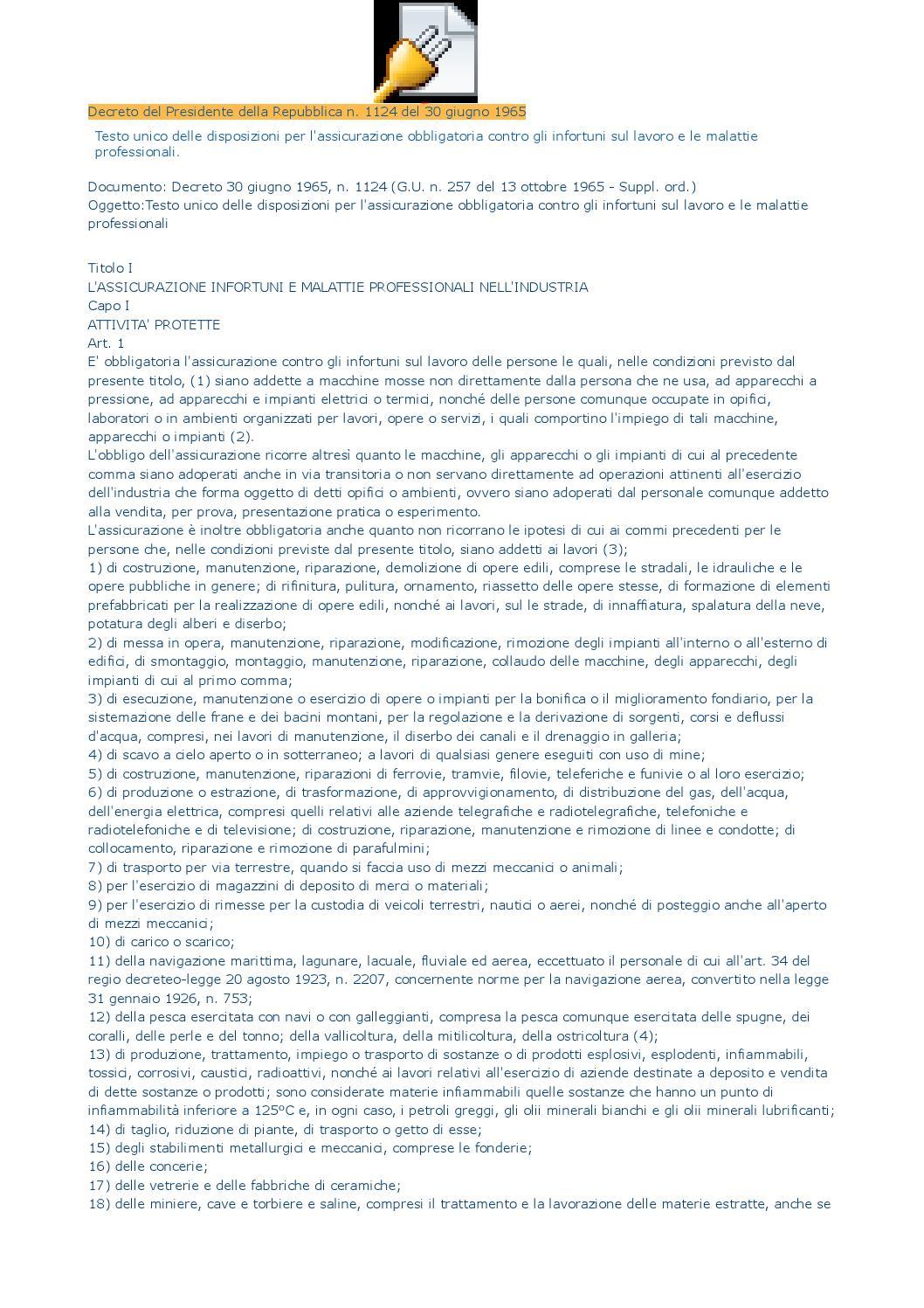 Decreto del presidente della repubblica n 1124 del 30 for Decreto presidente della repubblica