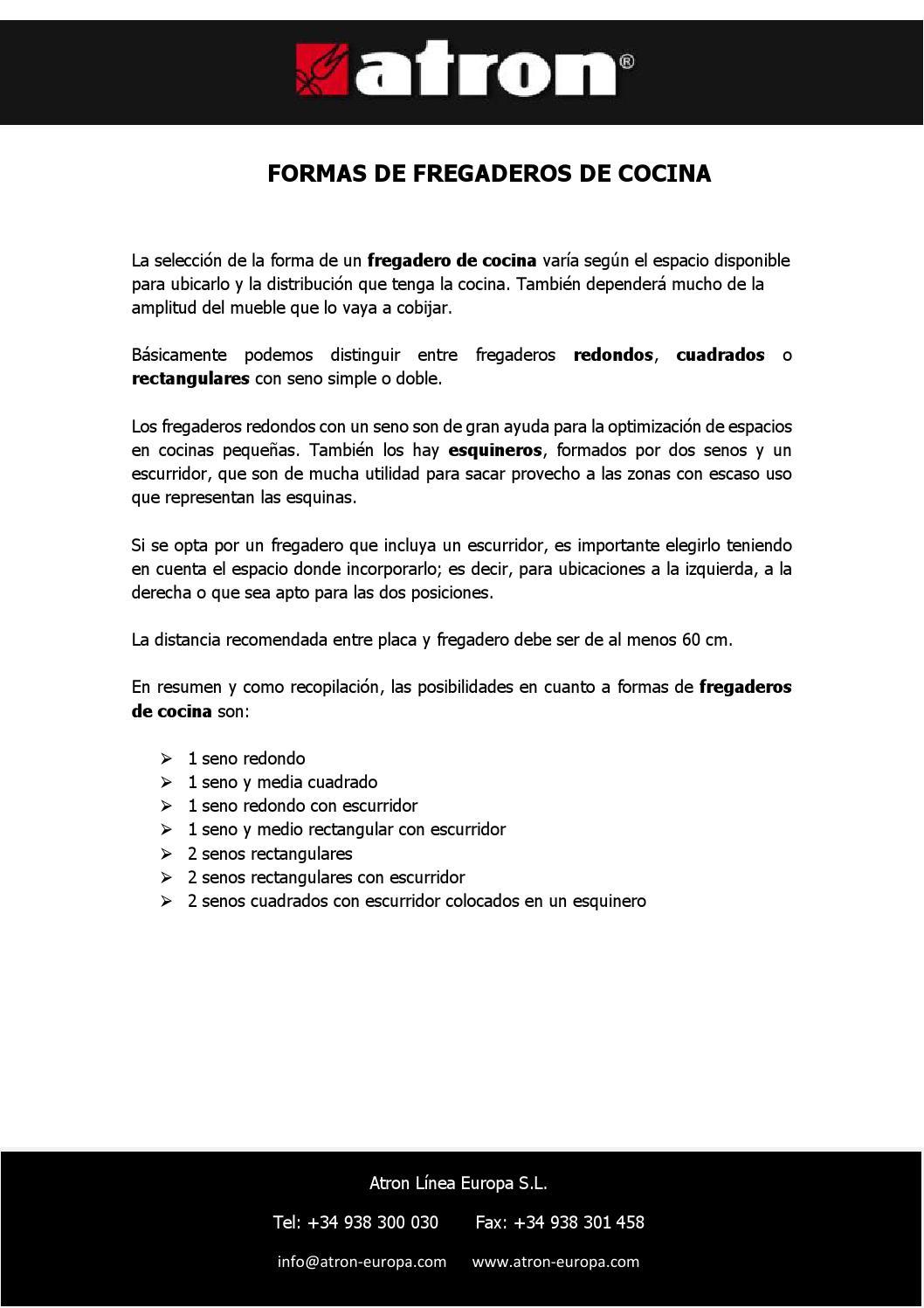 Formas de fregadero de cocina by atron fregaderos issuu - Fregaderos atron ...