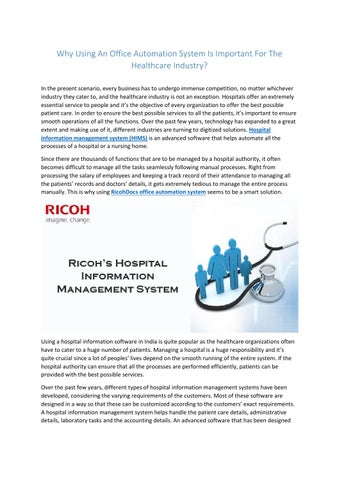 Office automated system Advantage Why Using An Office Automation System Is Important For The Healthcare Industry In The Present Scenario Every Business Has To Undergo Immense Competition Ies Inc Plymouth Ma Why To Use Office Automation System In The Healthcare Industry By