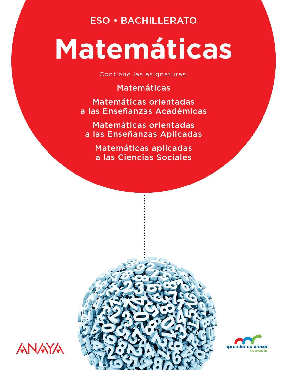 APRENDER ES CRECER EN CONEXIÓN: MATEMÁTICAS by Grupo Anaya