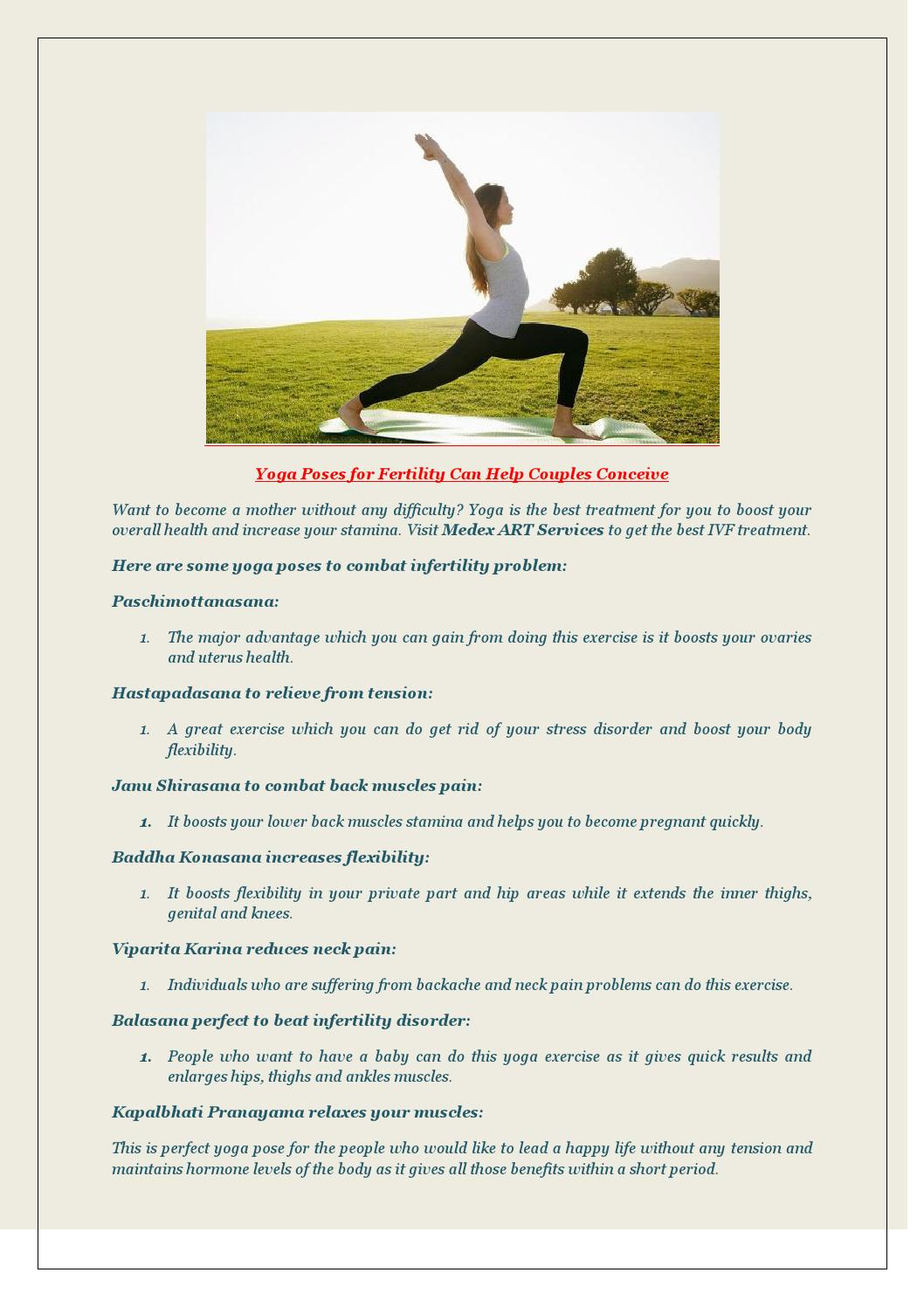 Yoga Poses For Fertility Can Help Couples Concieve By Ivf Centre Delhi Issuu