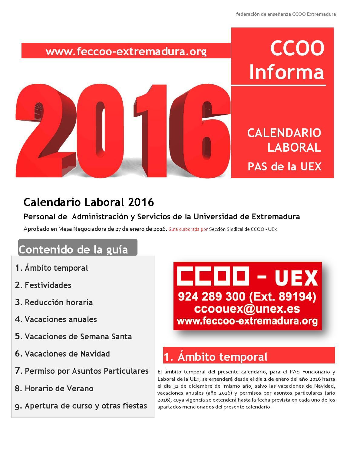 Calendario Uex.Calendario Laboral Del Pas De La Uex 2016 Elaborado Por Ccoo By