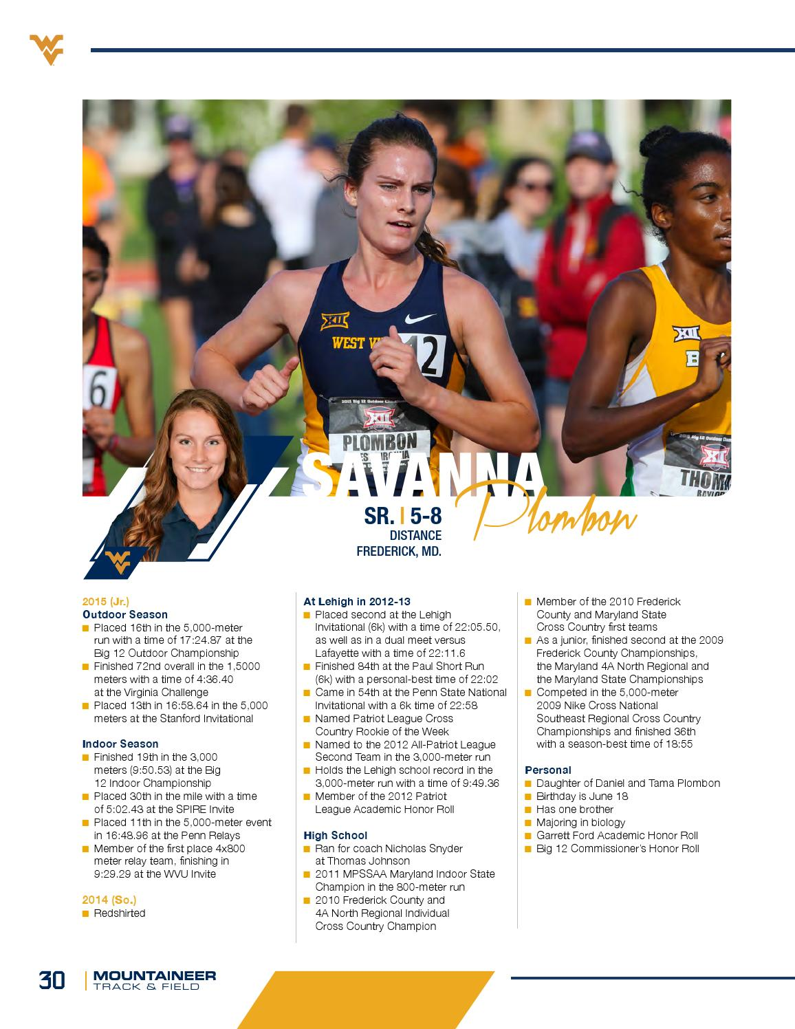 2016 WVU Track and Field Guide