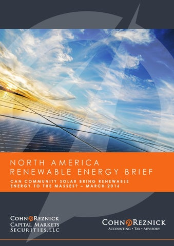 North America Renewable Energy Brief March 2016 by