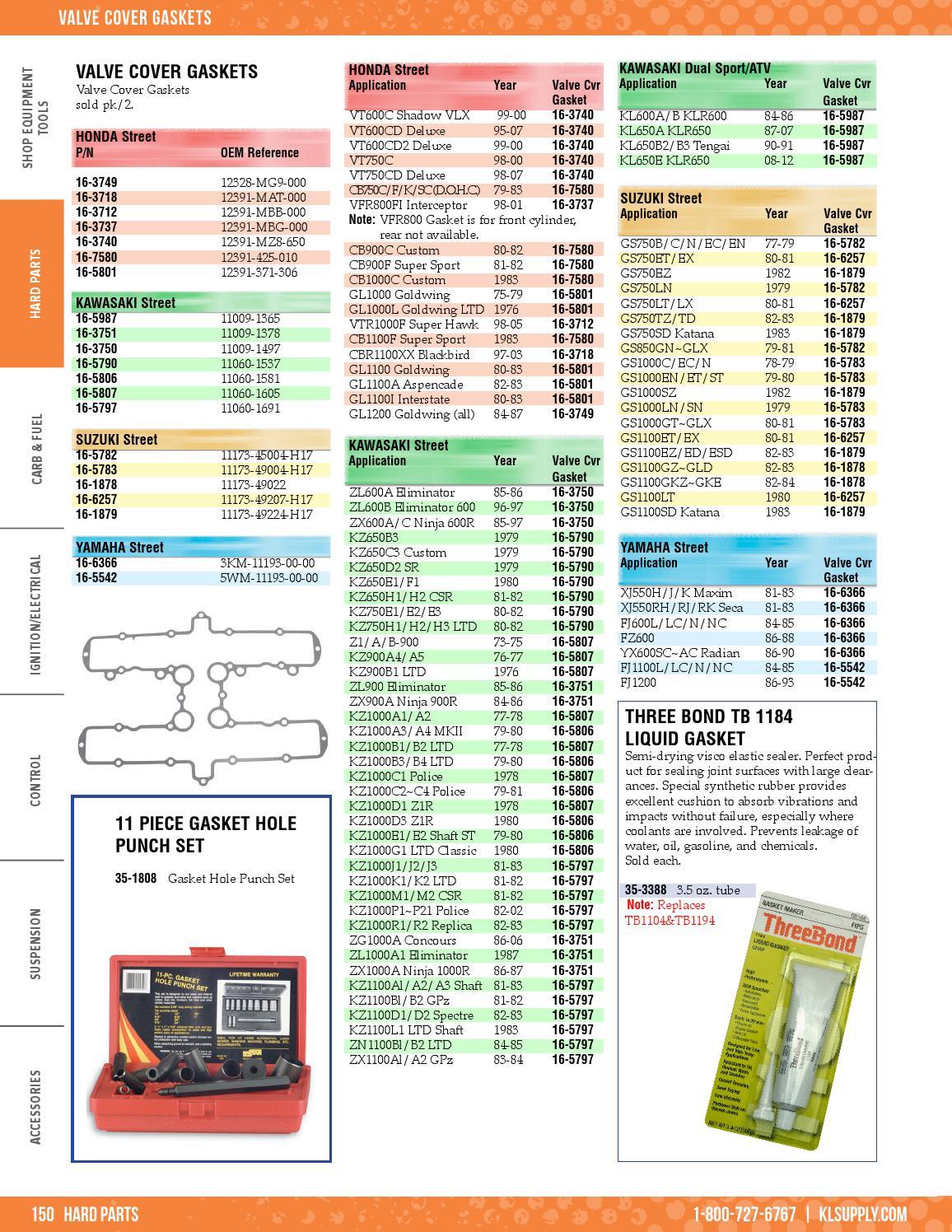 HONDA 12391-MG9-000 GOLDWING GL1200 84-87 SEALED COVER GASKET