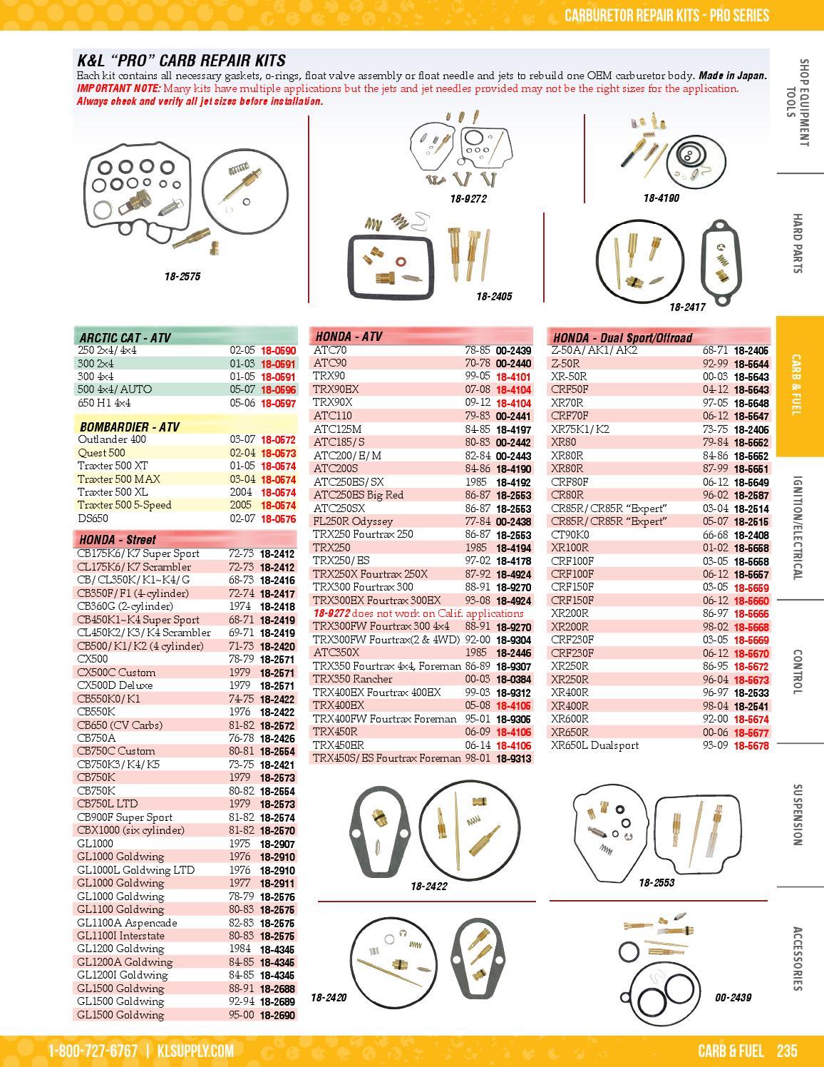 Made In Japan HONDA TRX90 99-06 CARB CARBURETOR REBUILD KIT