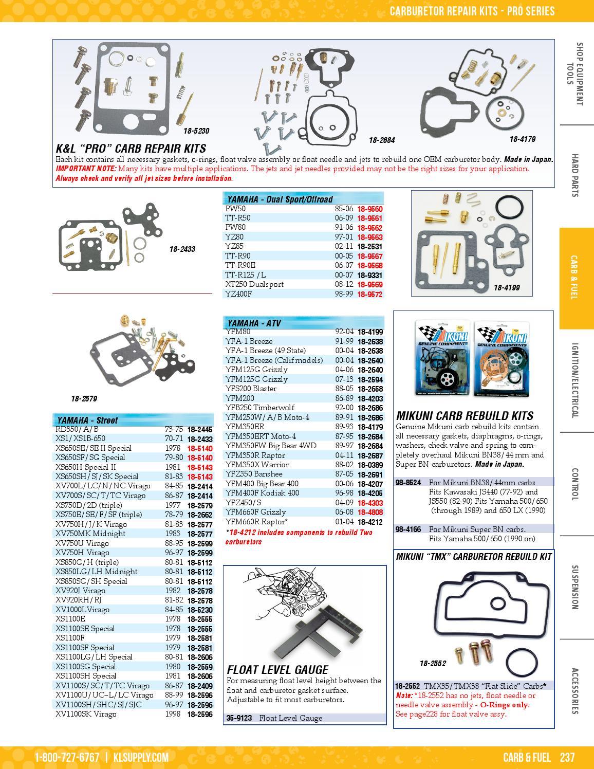 Yamaha Raptor 80 YFM80 92-04 Carburetor Carb Repair Rebuild Jet Seal Kit