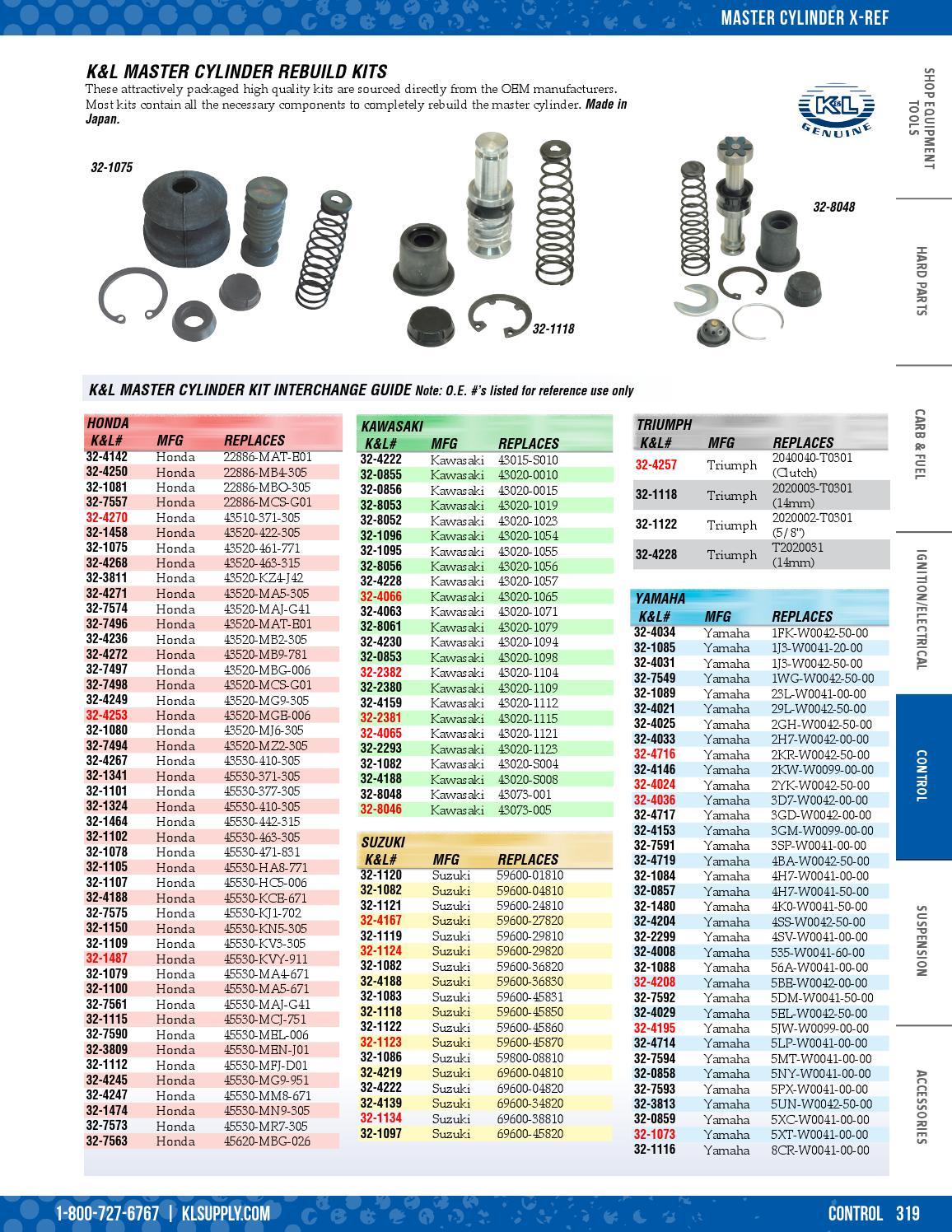K/&L Supply Master Cylinder Rebuild Kit Clutch 32-4142