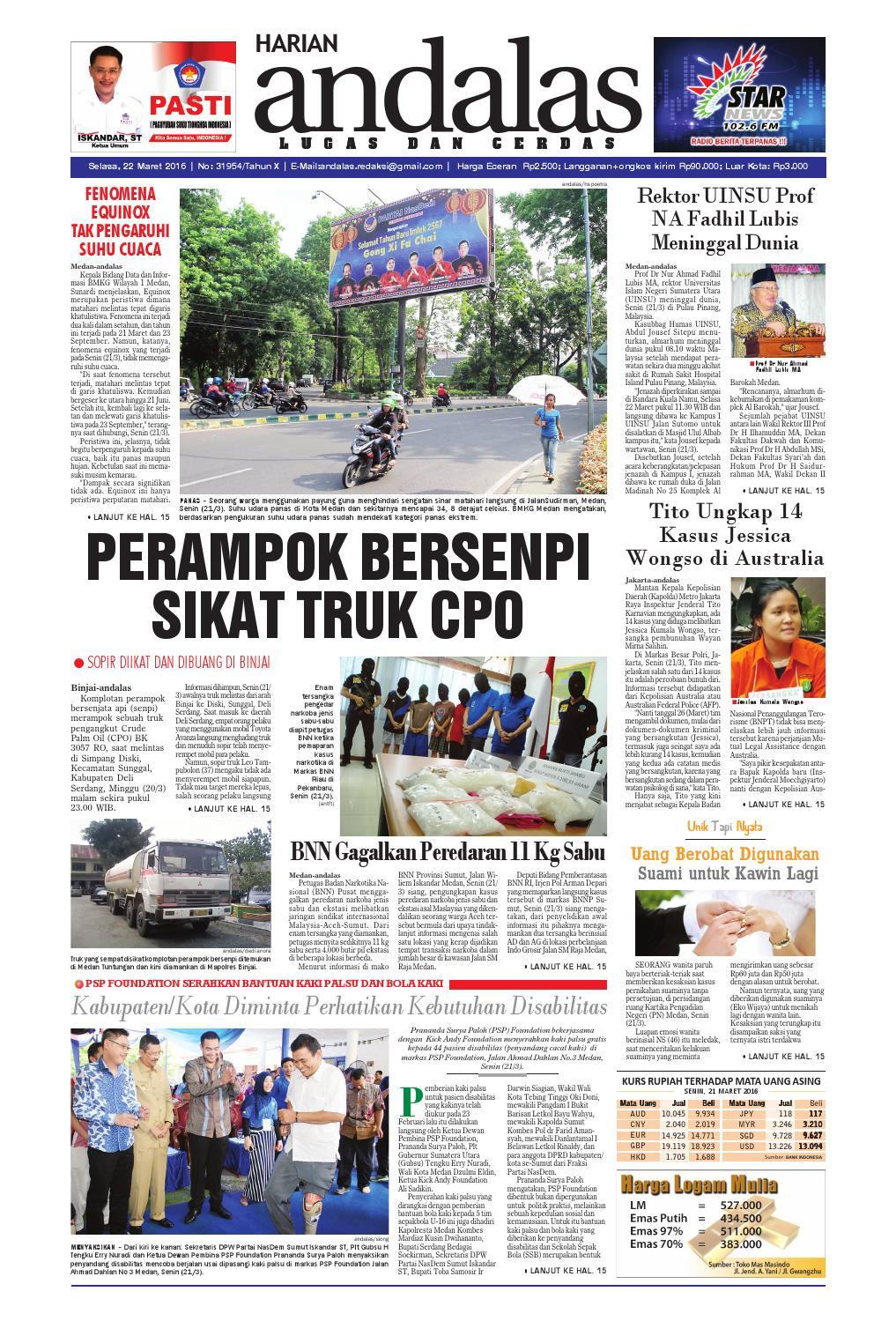 Epaper Andalas Edisi Selasa 22 Maret 2016 By Media Issuu Fcenter Lemari Pakaian Wd Hk 1802 Sh Jawa Tengah