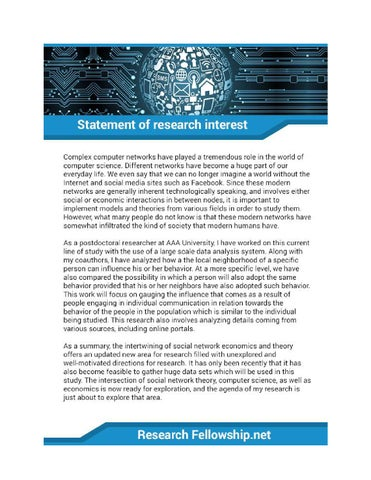 Statement of Research Interest Sample by Research Fellowship Samples