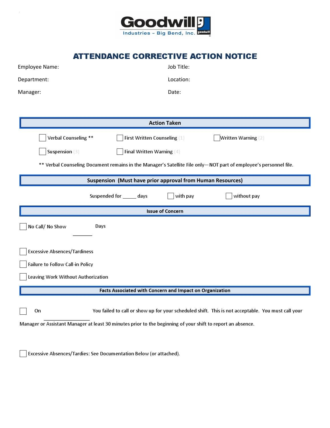 attendance corrective action template by goodwill