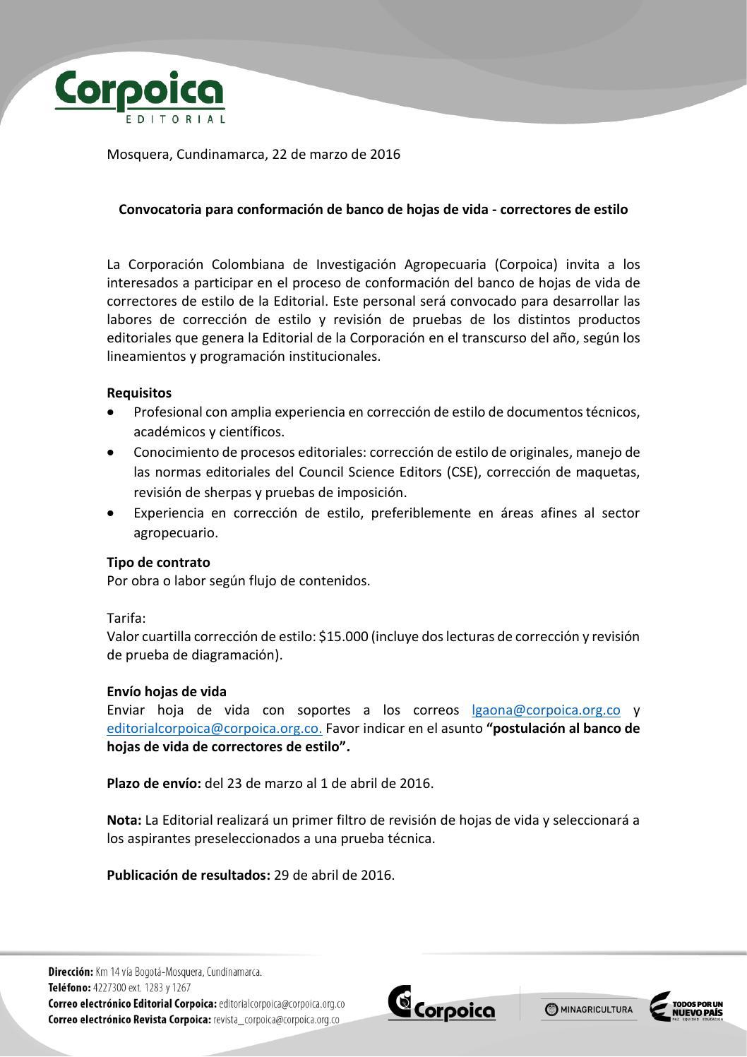 Convocatoria de Corpoica para correctores de estilo. by Correcta - issuu