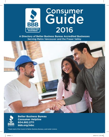 fedebc55ebe Better Business Bureau Consumer Guide 2016 by Business in Vancouver ...