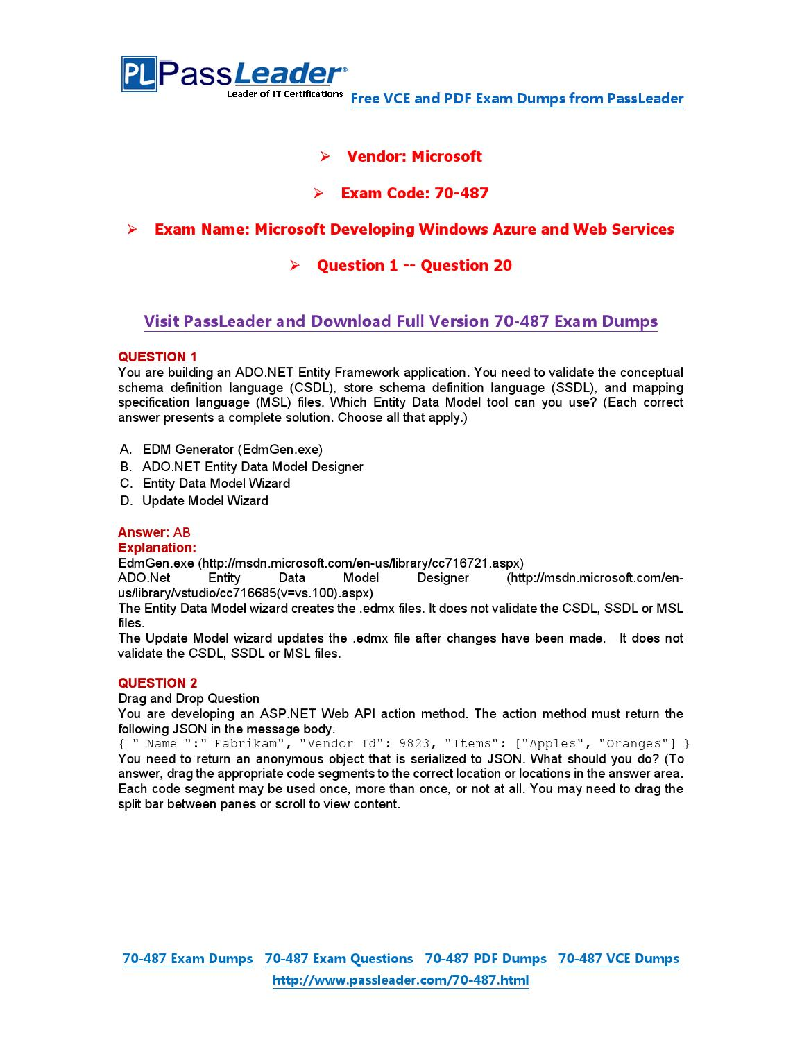 2016 New 70-487 Exam Dumps For Free (VCE and PDF) (1-20) by