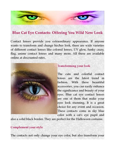 Blue Cat Eye Contacts By Scleralenses Issuu