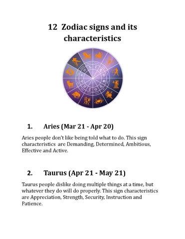 12 zodiac signs and its characteristics by rathnavelpandi issuu