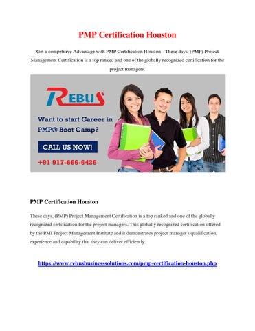 Pmp certification houston by Aaraadhak - issuu