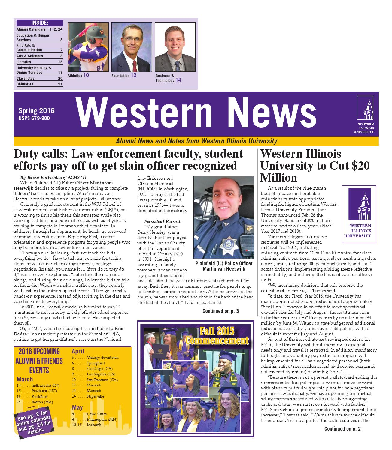 Western News Spring 2016 by Western Illinois University - issuu