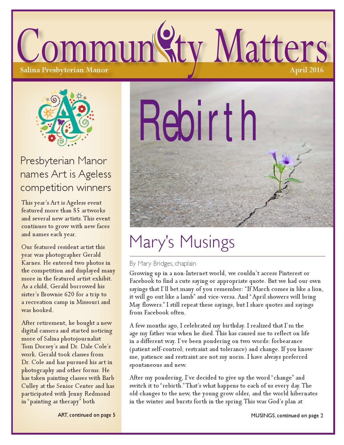 Salina Community Matters April 2016 by Presbyterian Manors