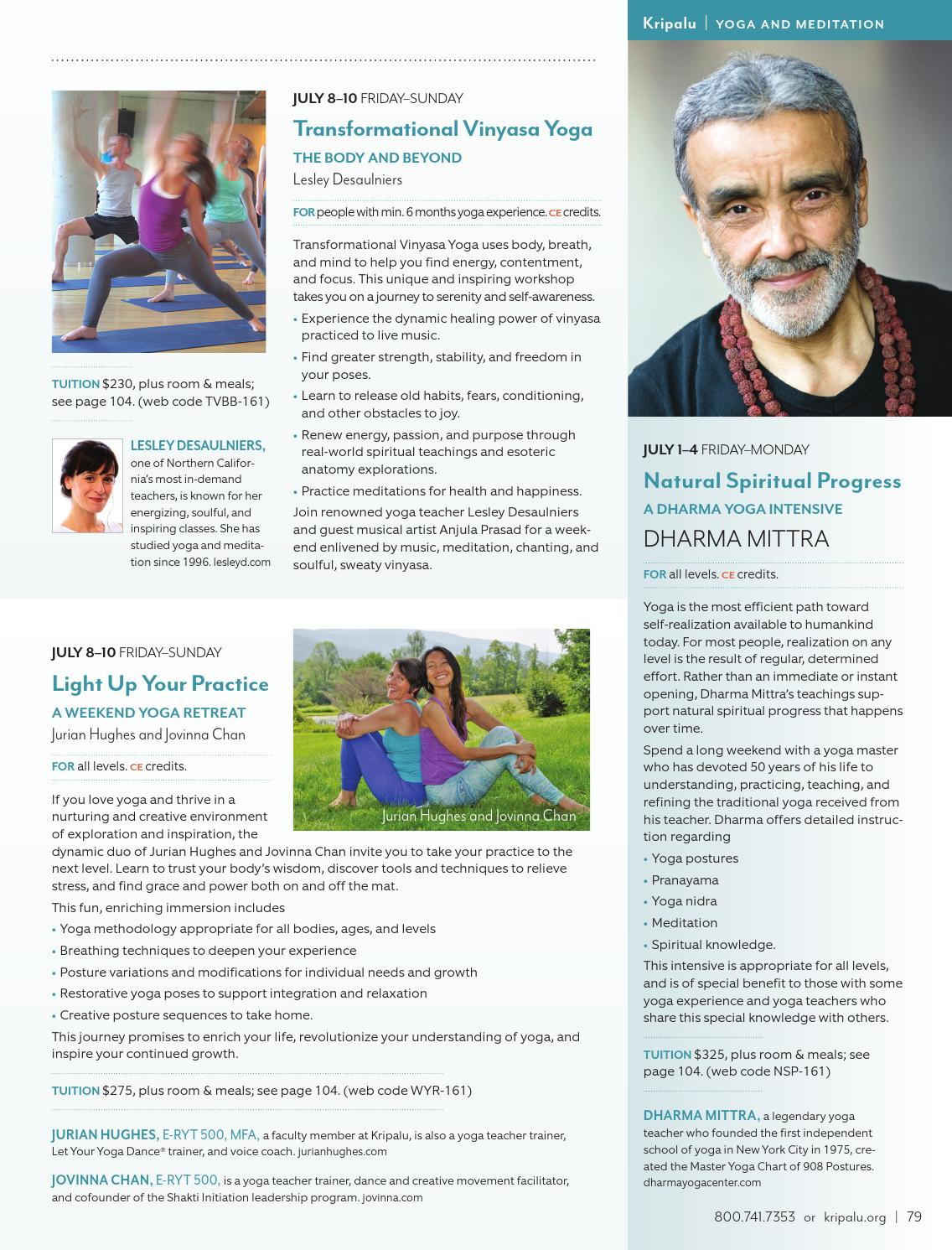 Kripalu Summer 2016 Catalog By Kripalu Center For Yoga Health Issuu