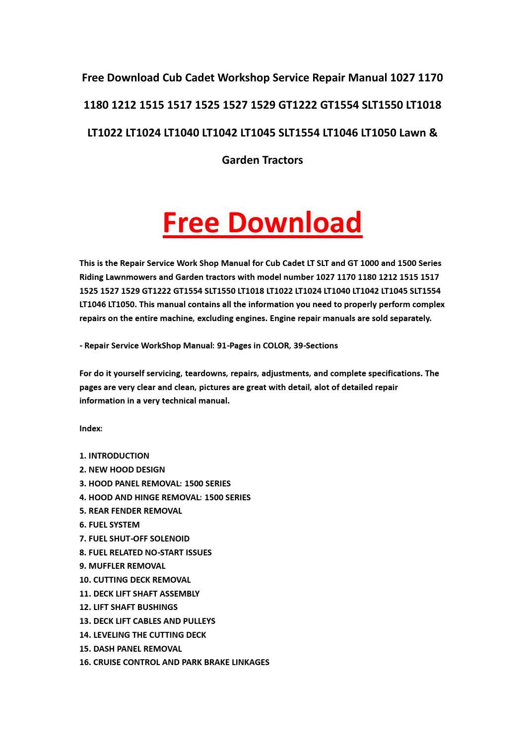Cub Cadet Workshop Service Repair Manual 1027 1170 1180
