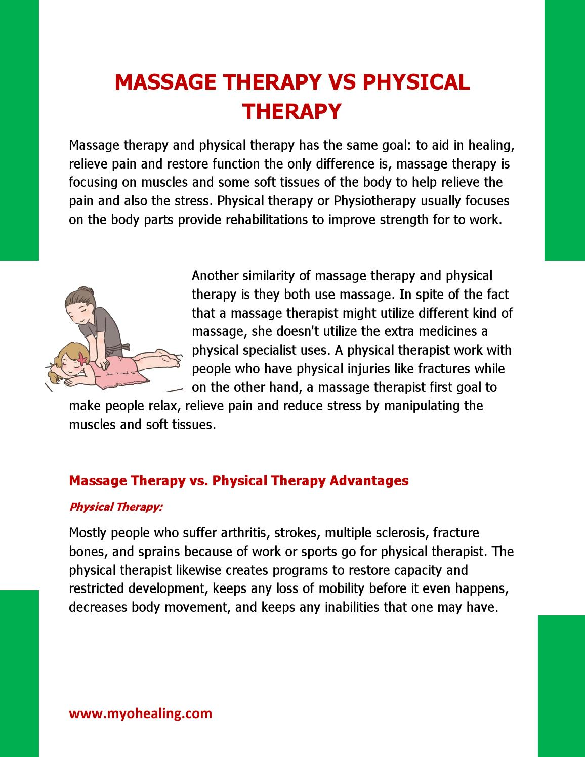 Massage Therapy Vs Physical Therapy By Myohealing Issuu