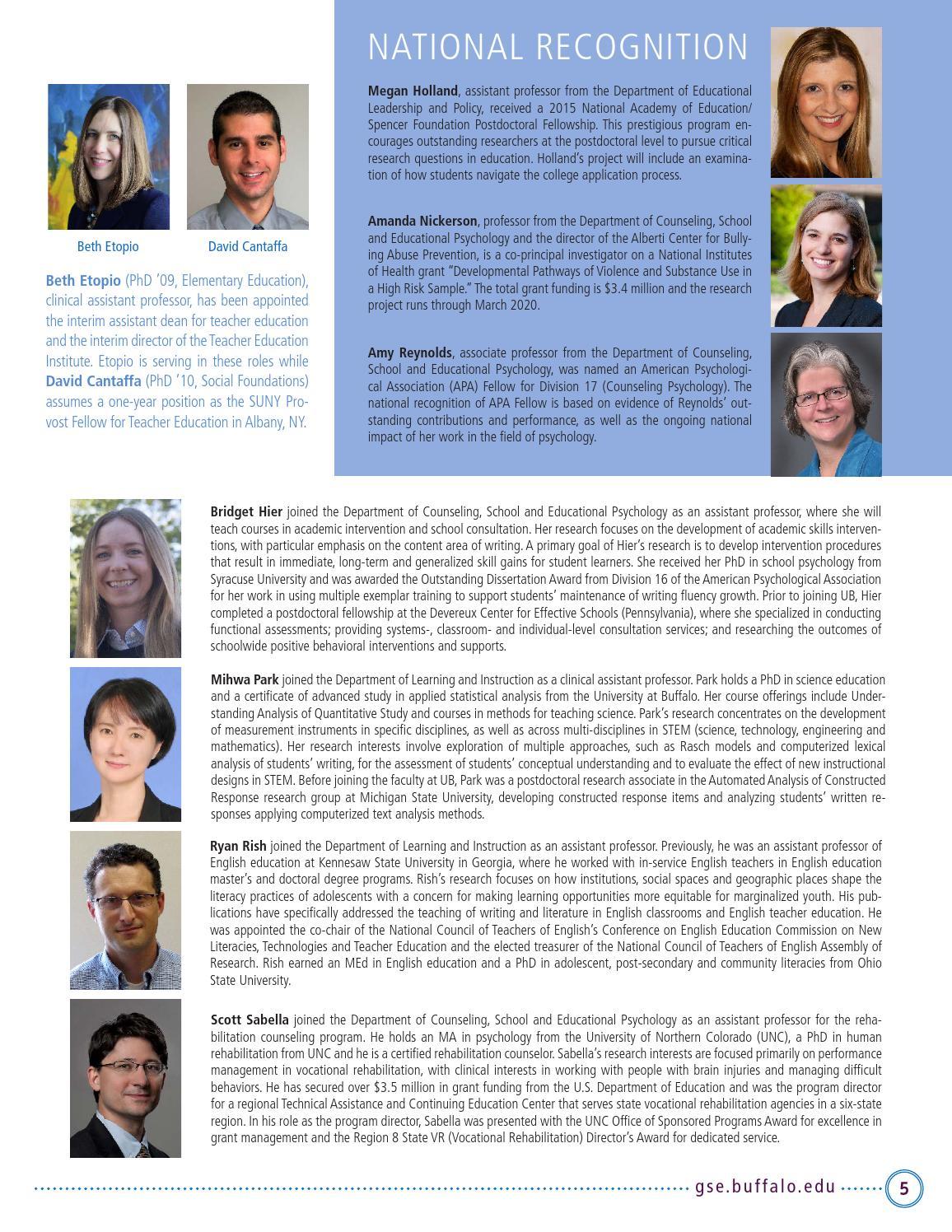 GSE  edu Alumni Newsletter - Fall 2015/Spring 2016 by UB GSE