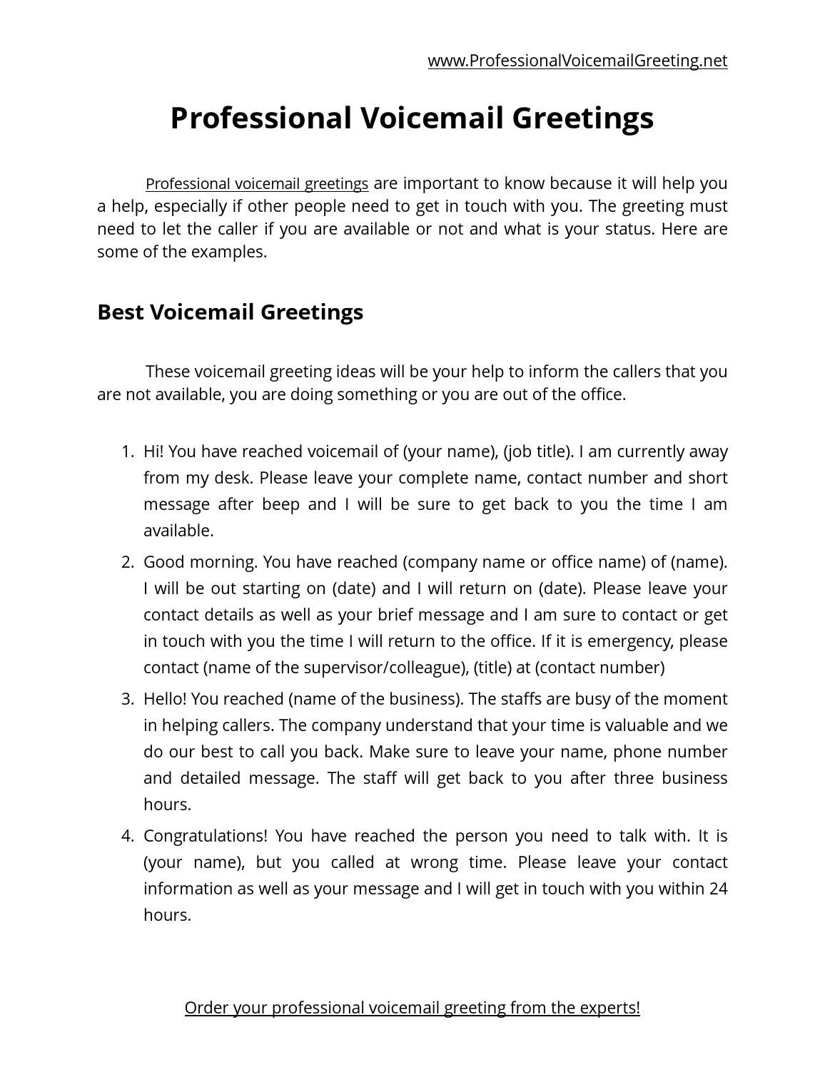 50 professional voicemail greetings by voice mail issuu m4hsunfo Choice Image