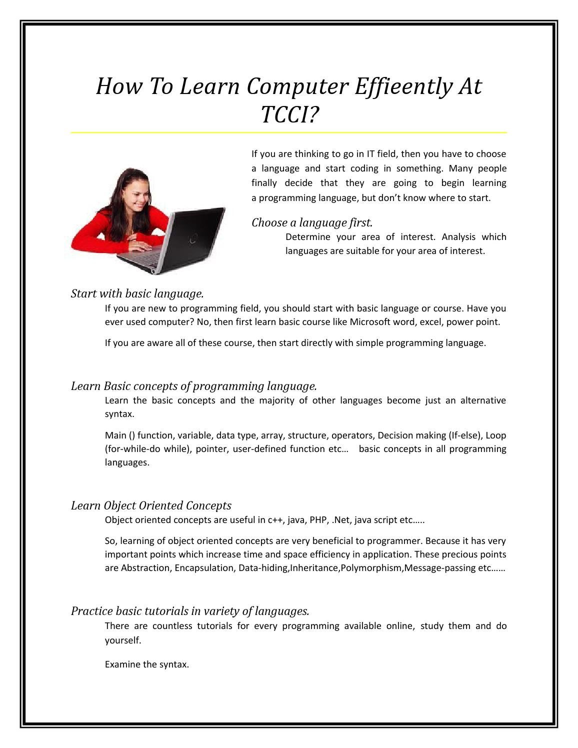 How to learn computer effieently at tcci by Rosario Riley