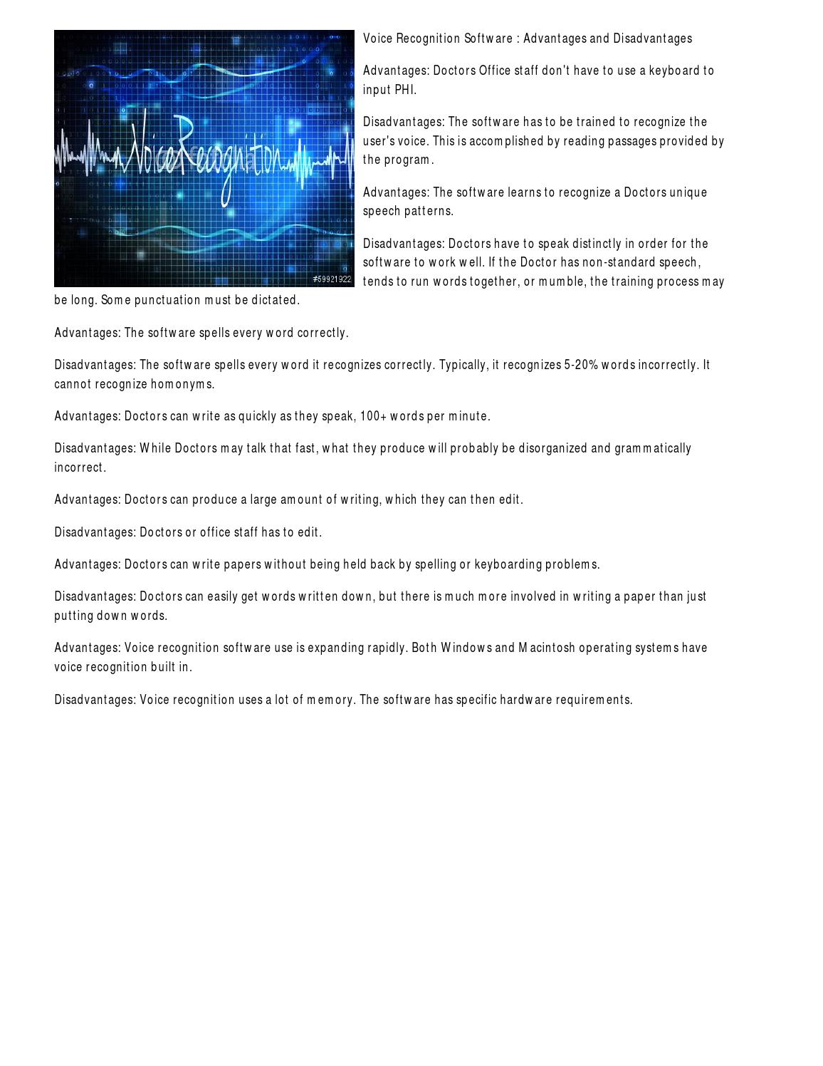 Voice Recognition Software : Advantages and Disadvantages by Jessica