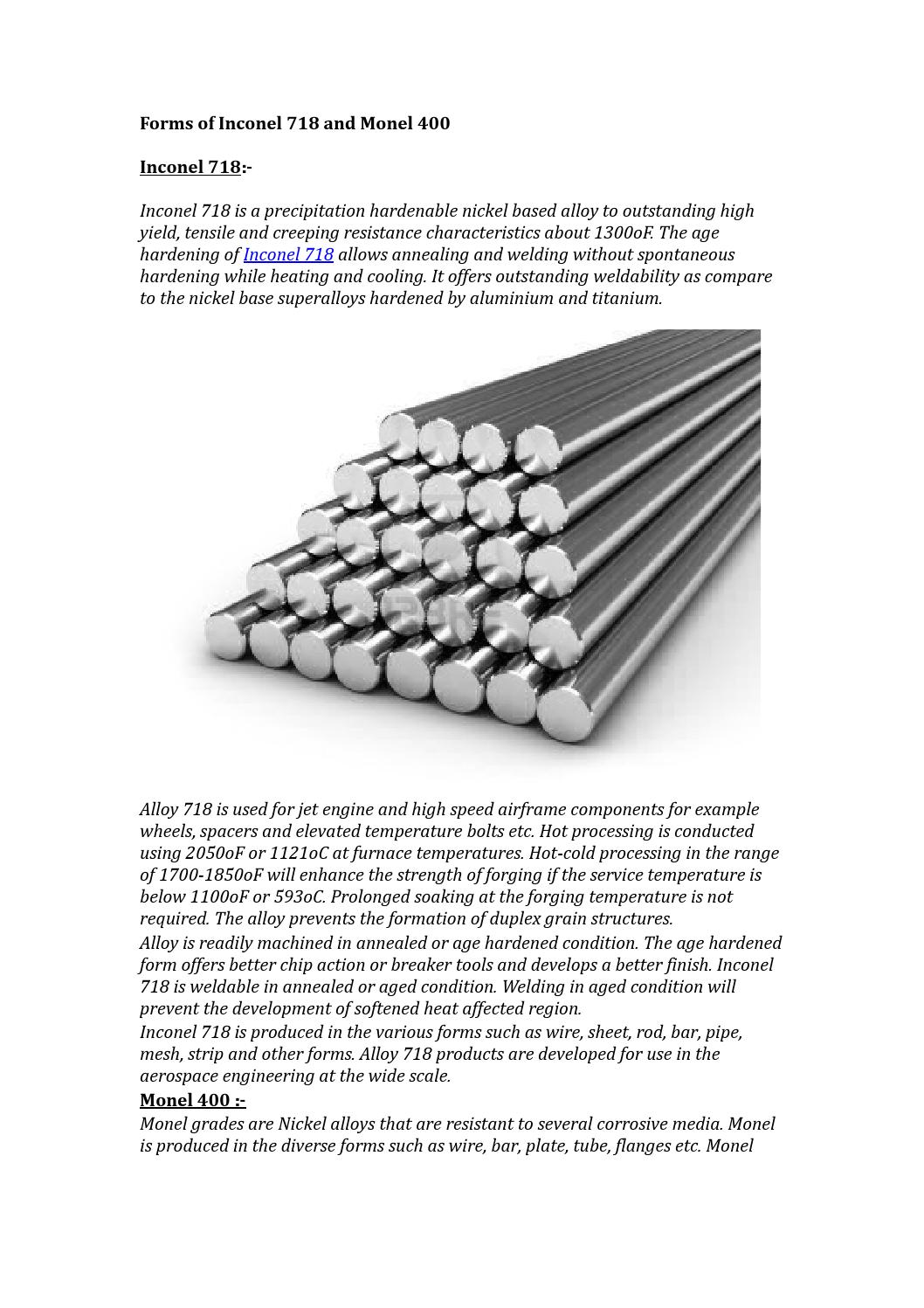 Forms of inconel 718 and monel 400 by heanjiametals - issuu