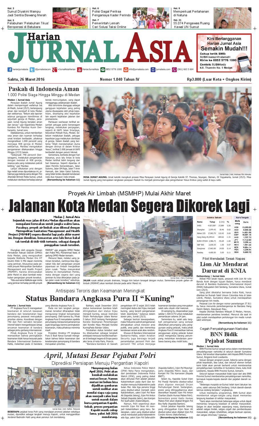 Harian Jurnal Asia Edisi Sabtu, 26 Maret 2016 by Harian Jurnal Asia - Medan - issuu