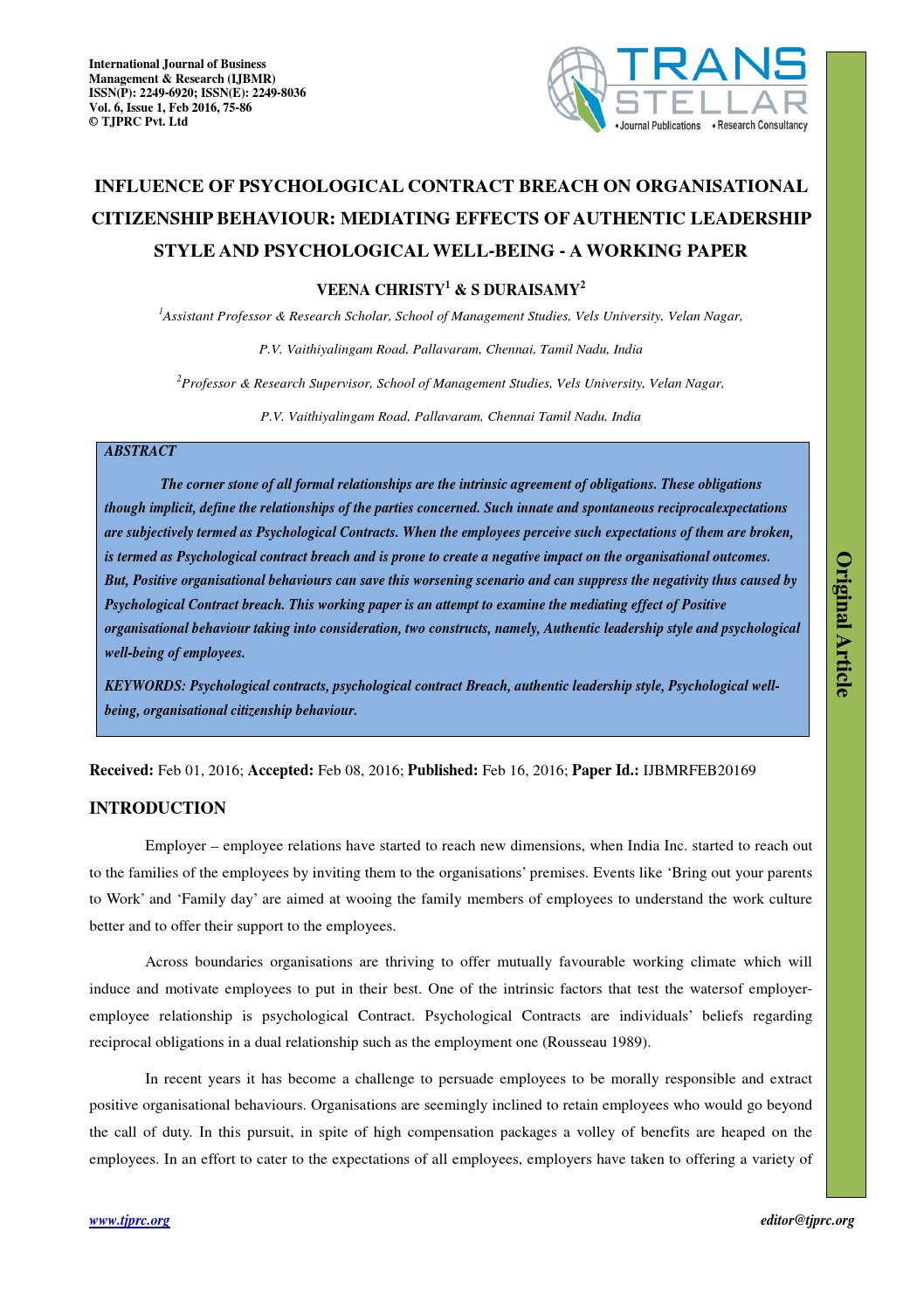 psychological contract research paper Ty - jour t1 - the psychological contract: a critical review' au - cullinane,niall au - dundon,tony py - 2006 y1 - 2006 n2 - literature on the psychological.