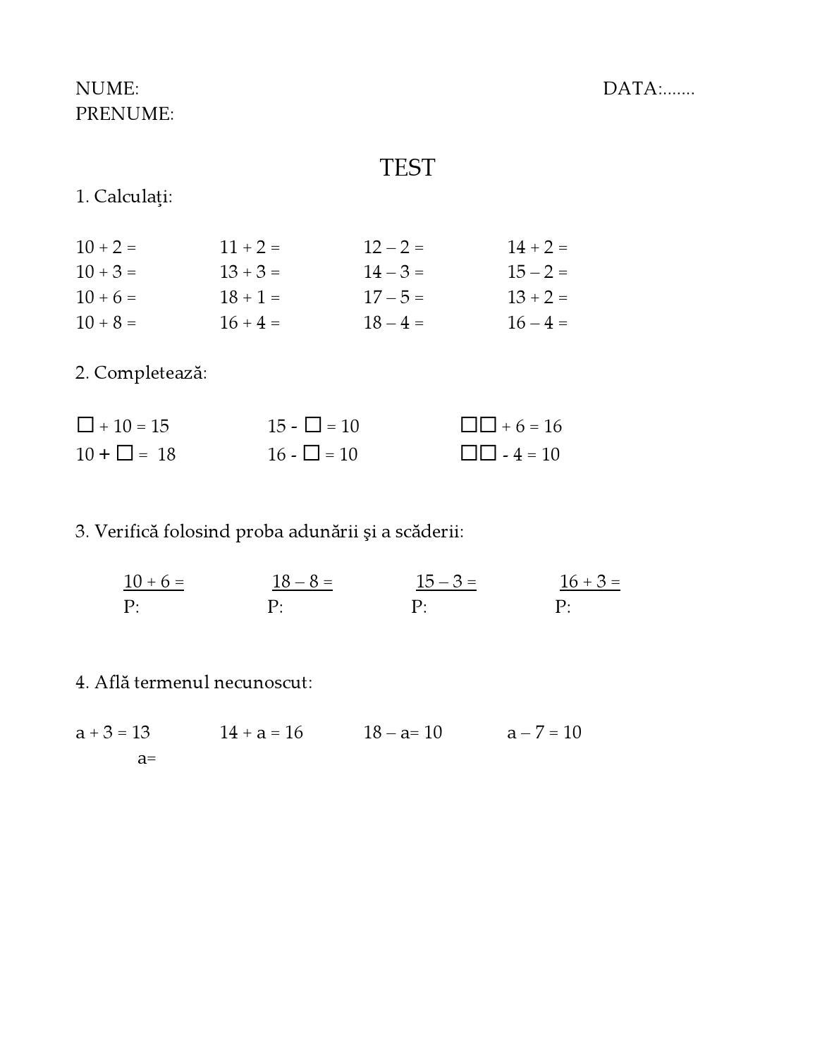 Test De Evaluare Clasa 1 By Bri