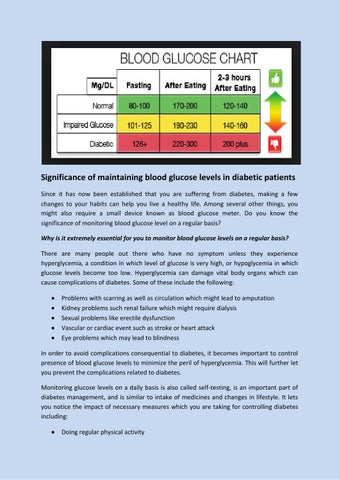 Significance of Maintaining Blood Glucose Levels in Diabetic